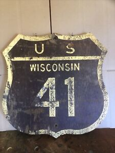 Rare Wood Reflector Wisconsin US route 41 highway marker Sign 22 - 22 Inches