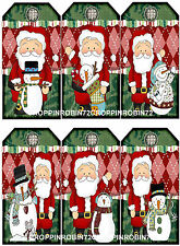 SET OF 12 CHRISTMAS SANTA CLAUS (52) SCRAPBOOK EMBELLISHMENTS HANG/GIFT TAGS