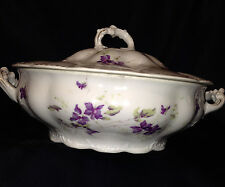 HABSBURG CHINA AUSTRIA ROUND COVERED VEGETABLE BOWL VIOLETS PURPLE FLOWERS