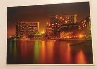 Hawaii Decor Prints Waikiki Beach At Night Vintage Postcard Unposted Colorscans