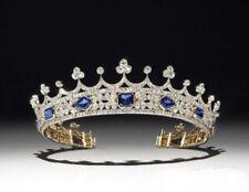 Yellow Plated Tiara Royal Crown Blue Asscher Stone Wedding Women In 925 Silver