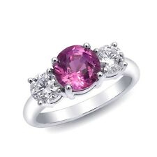 Ring w Natural Pink Sapphire 1.99 cts & Diamonds 18KWG for the best price ever