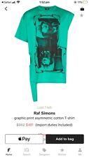 Mens Raf Simons Green Graphic Print AsymmetricT-shirt Size Large