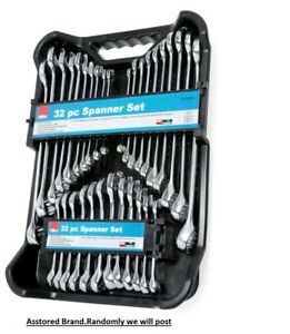 32PC SPANNER SET STUBBY RING SPANNERS AF / METRIC POLISHED  Combination ALL IN 1