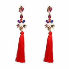 "Zara elegante 4,5"" Rosso nappe Bianco Perla Goccia Dangle Earrings-NUOVO"