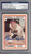 Warren Spahn 1982 TCMA Milwaukee Braves Signed AUTOGRAPH PSA DNA