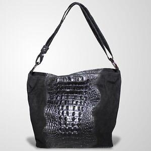 Schultertasche Ledertasche Tasche Henkeltasche Umhängetasche Handtasche Schwarz