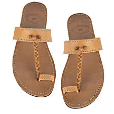 ANCIENT GREEK  Leather Sandals Toe Ring Style Flat Handmade in Light Brown Color