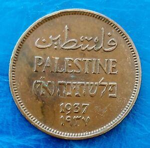 Israel Palestine British Mandate 1 Mil 1937 Bronze Coin XF - Key Date