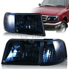 For 93-97 Ford Ranger Stx Xlt Xl Smoke Lens Amber Reflector Lamps Headlights