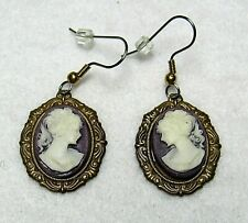 Cameo Earrings Classic Lady on Purple Background