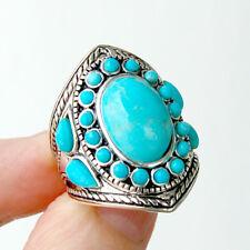 R028  Bague Style Amérindien Argent Massif 925  Turquoise T60