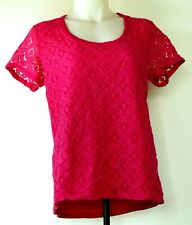 NEW NWT Jones New York Fuchsia Pink S/S Lace Front Scoop Neck T-Shirt Top M