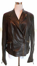 NWT SW3 Bespoke Bromley Leather Moto Jacket Brown Size L Zip Front Motorcycle