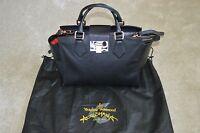 Vivienne Westwood Black Leather / Rose Gold Clasp Shoulder Strap Handbag Womens