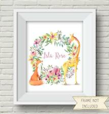 "Personalised Fox And Giraffe 10"" x 8"" Print, UNFRAMED children's, nursery print"