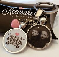 Personalised Photo Keyring -  Best Auntie Ever - Birthday Present Gift Box