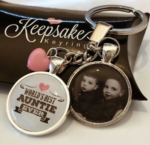 Personalised Photo Keyring Best Auntie Ever Birthday Present Gift Box