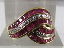 Damen Ring 750er Gold bicolor Rubine Diamanten Brillanten VVS Top Wesselton Rot