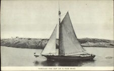 Sailboat & Lighthouse in Distance Publ in Waltham MA c1910 Postcard