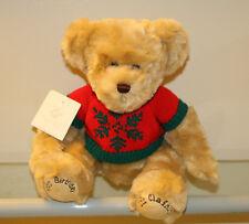 "RARE NWT 2002 LIZ CLAIBORNE 100 BIRTHDAY CHRISTMAS SWEATER 15"" PLUSH TEDDY BEAR"