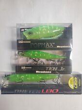 (3) THREE LURES MEGABASS VISION Crystal Lime Frog (SP-C) LBO, Jr. and POPMAX