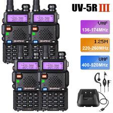 4x BAOFENG UV-5R III FM Tri-Band Walkie Talkies 5W Two Way Ham Radio Long Range