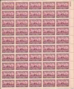 US Stamp 1937 3c Army, Sherman, Grant 50 Stamp Sheet NH Scott #787
