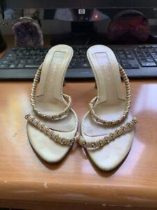 $895 Authentic SERGIO ROSSI Made in ITALY 🇮🇹 Beige Slip On Heel Sandals Sz.36