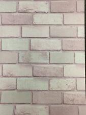 Arthouse 260005 Diamond Pink 3d Brick Grey White Stone Wallpaper Pastel Glitter