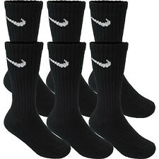NIKE SOCKS 6 PAIR 6 PACK NEW MEN'S BLACK CREW SIZE 8-12 PERFORMANCE CUSHIONED