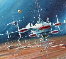 Tony Fachet-Pa Superrealist-Original Signed Oil-Spaceship Sci-Fi/Retrofuturism