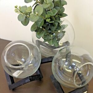 Set of 3 Glass Bowls on Rustic Wooden Stands. Ideal for Air Plants or Tea-Lights