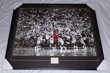 Michael Jordan Signed Framed Last Shot Poster Display 1984 Signature JSA Bulls