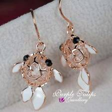 18ct Rose Gold Plated Cute Fish Dangle earrings Made With Swarovski Crystals