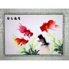 """Chinesisches Bild """"Glückliche Fische"""", Stickbild, Stoffbild, Stickkunst China"""