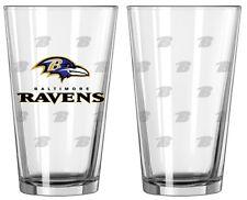 Baltimore Ravens Satin Etch Pint Glass Set of 2 [NEW] NFL Drink Bar Cup Mug 16oz