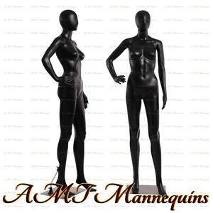 Female display mannequin full body +metal stand, black used manikin -FC-11U+1wig