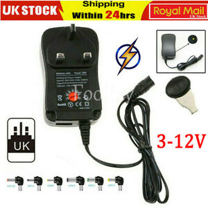UK PLUG AC/DC Adjustable Multi Voltage Power Supply Adapter 3V 5V 6V 7.5V 9V 12V