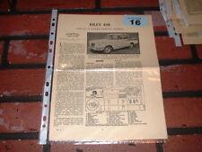 RILEY 4/68 MOTOR TRADER SERVICE INFORMATION SHEETS. FREE U.K. POST
