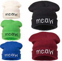Mens Ladies Knitted Woolly Meow Winter Oversized Slouch Beanie Hat Cap