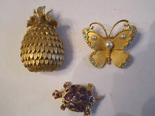 2 VTG BENEDIKT BROOCHES - PINEAPPLE & BUTTERFLY & UNSIGNED AMETHYST TURTLE BBA2