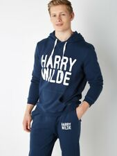 New COMPLETE TRACKSUIT mens navy blue kangeroo front joggers & hoodie size S