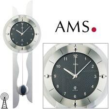 AMS 38 Wanduhr Funk mit Pendel Wohnzimmeruhr Carbon - Optik Pendeluhr Clock 989