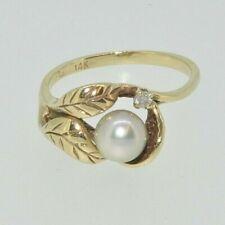 14ct Diamante y Perla Hermosa Hoja De Oro Anillo Tamaño L 1/2