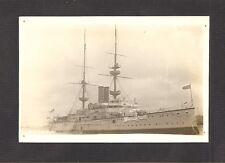 REAL-PHOTO POSTCARD:  BRITISH NAVY PRE-WW-1 BATTLESHIP H.M.S. RENOWN - Pinholes