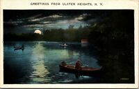 ULSTER HEIGHTS NEW YORK NY - VINTAGE NIGHTVIEW LAKE - BOAT - postcard PC