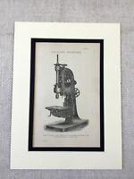 1880 Stampa Vittoriano Trapanatura Strumento Macchina Industriale Design