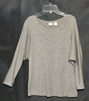 St. Tropez West Size S Marled Gray Doman 3/4 Sleeve Stretch T-Shirt