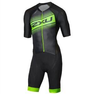 New 2XU Men Comp Full Zip Sleeved Trisuit Triathlon Tri Suit Black Green Medium